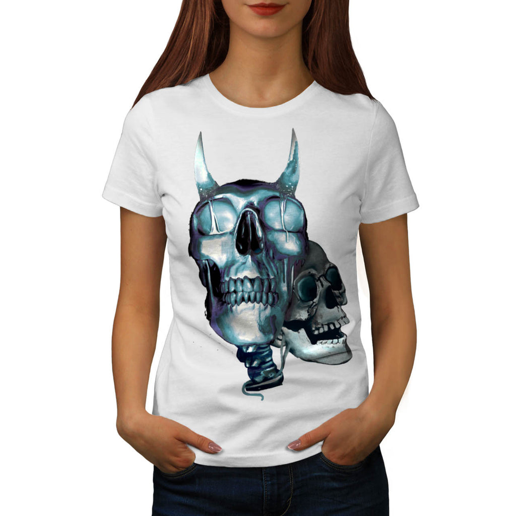 Skull Head Devil Art Womens T-Shirt