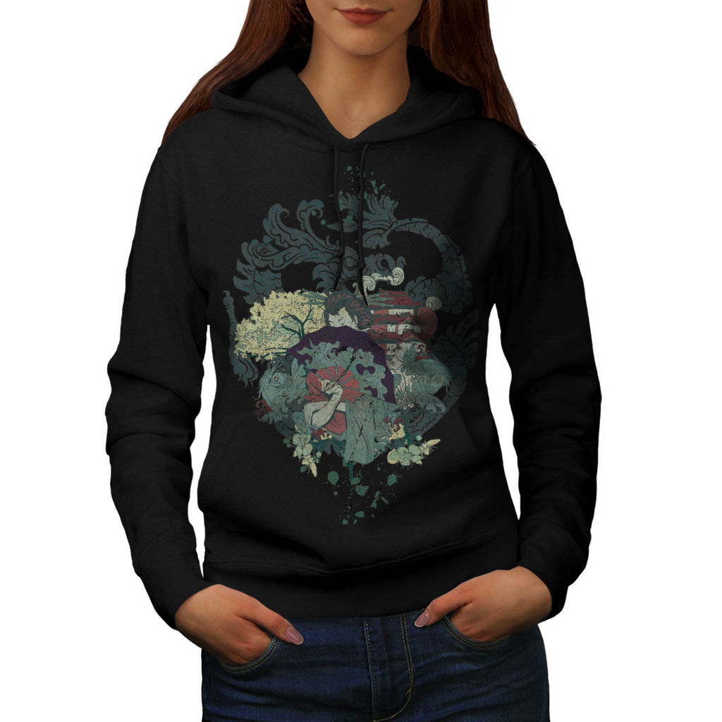 Dragon Japan Geisha Womens Hoodie