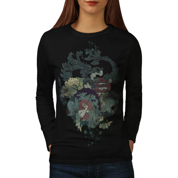 Dragon Japan Geisha Womens Long Sleeve T-Shirt