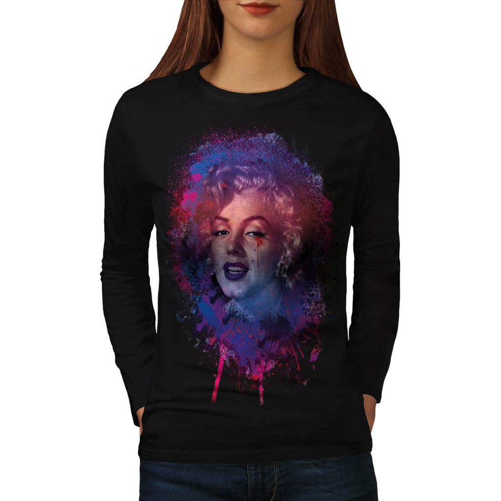 Monreo Grunge Face Womens Long Sleeve T-Shirt