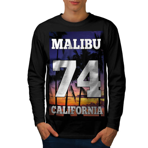 Malibu California USA Mens Long Sleeve T-Shirt