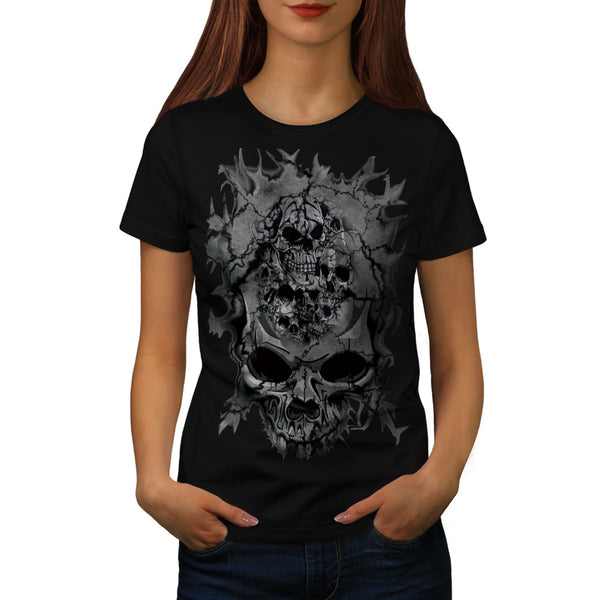 Skull Head Horror Art Womens T-Shirt