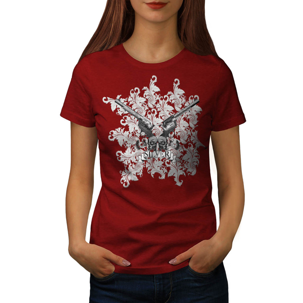 Flower Silver Pistol Womens T-Shirt