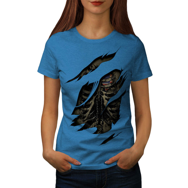 Rib Cage Heart USA Womens T-Shirt