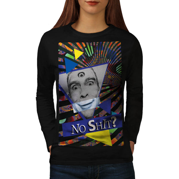 Man Fake Smile Eye Womens Long Sleeve T-Shirt