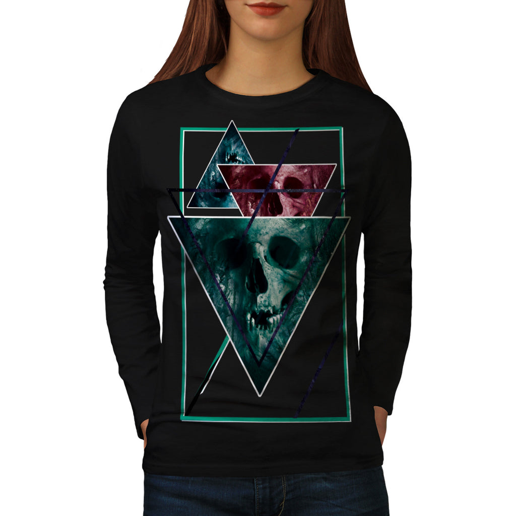 Scary Horror Skull Womens Long Sleeve T-Shirt