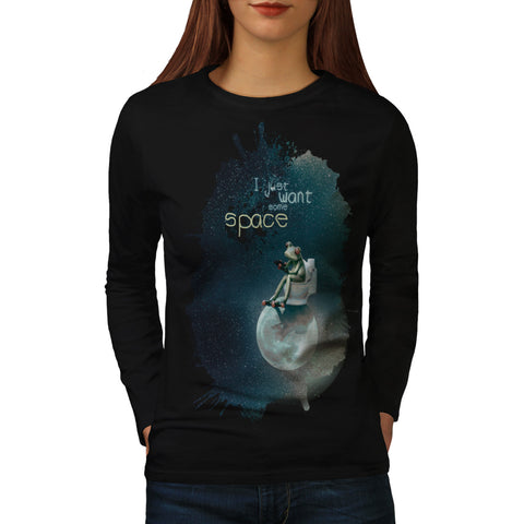 Space Universe Frog Womens Long Sleeve T-Shirt