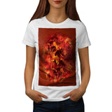 Skull Beast Flames Womens T-Shirt