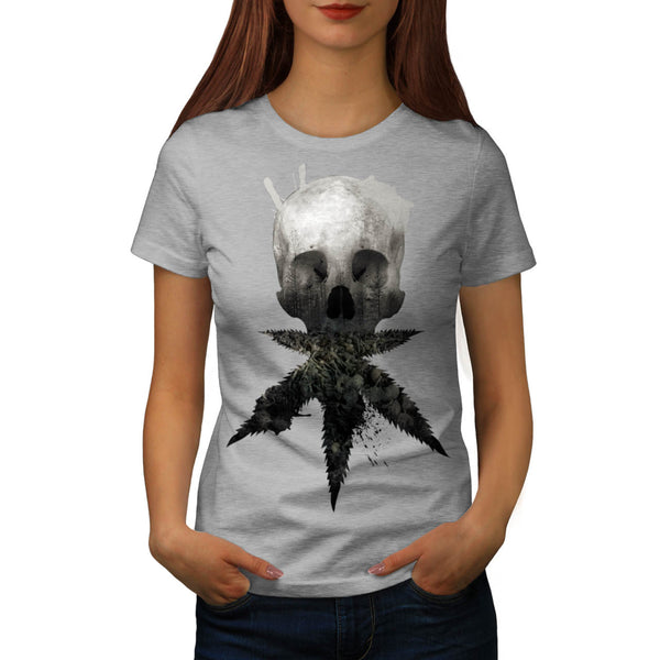 Skull Cannabis Face Womens T-Shirt