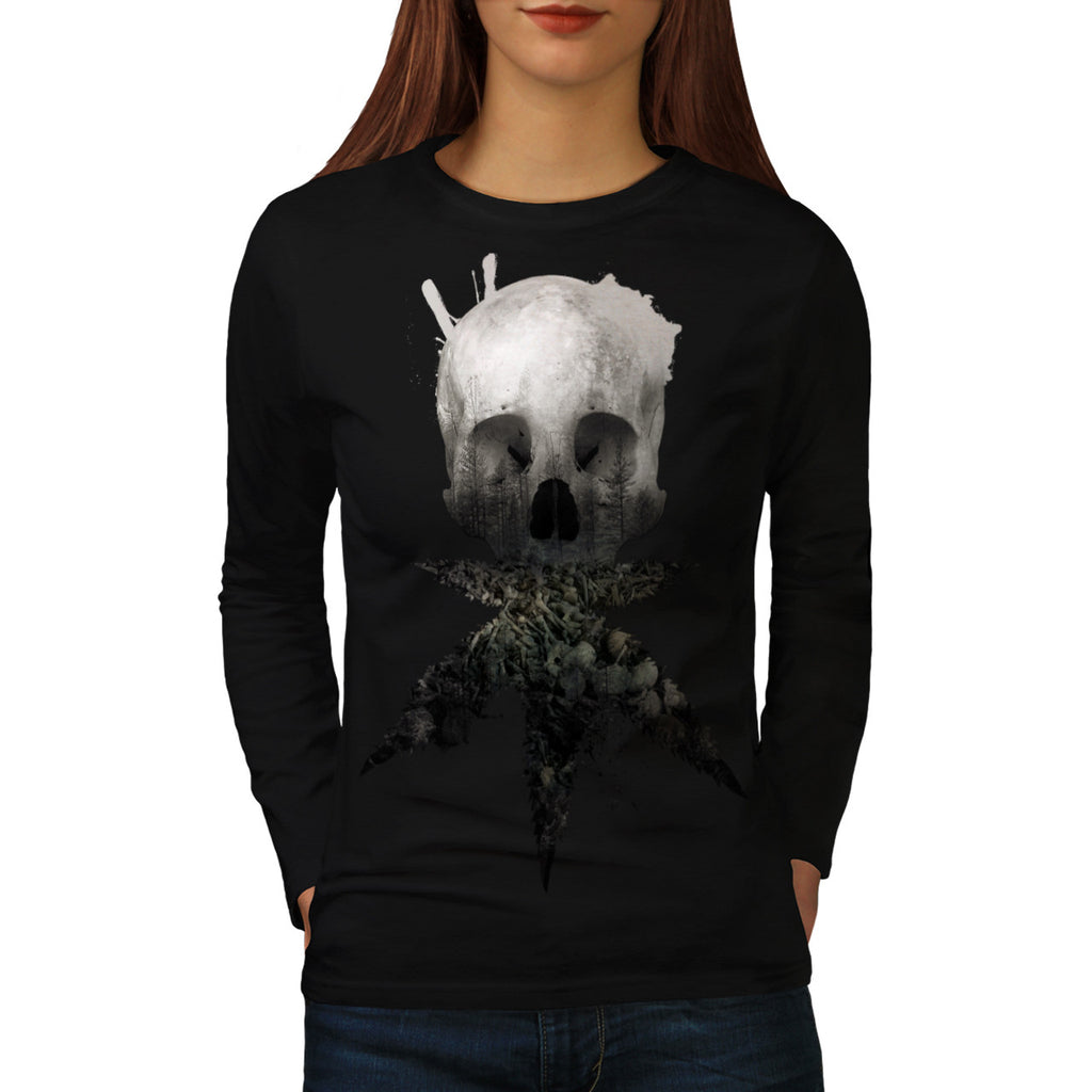 Skull Cannabis Face Womens Long Sleeve T-Shirt