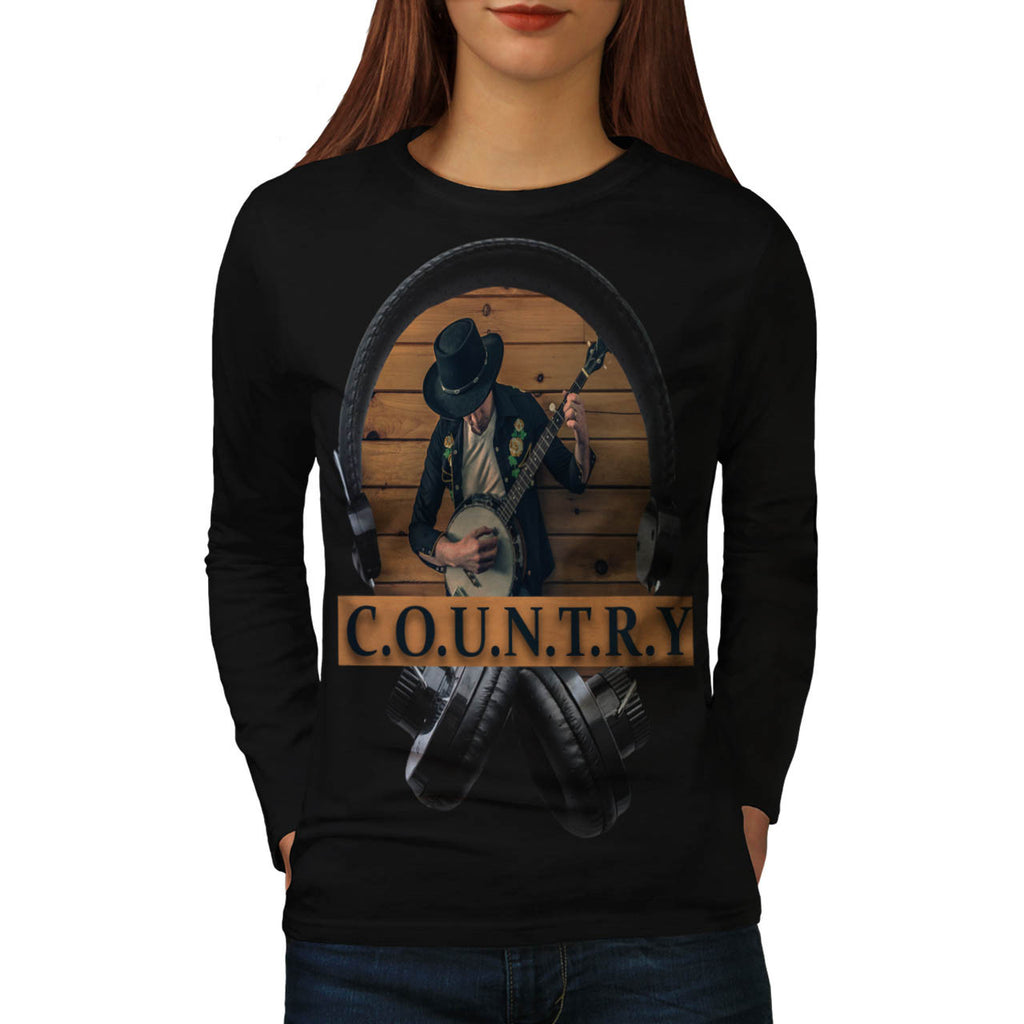 Country Headphone Womens Long Sleeve T-Shirt