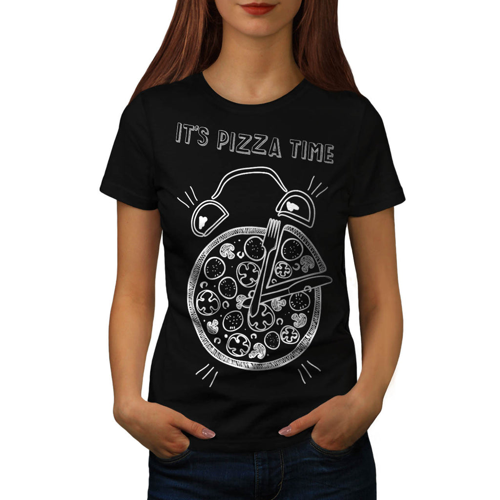 Pizza Time Clock Eat Womens T-Shirt