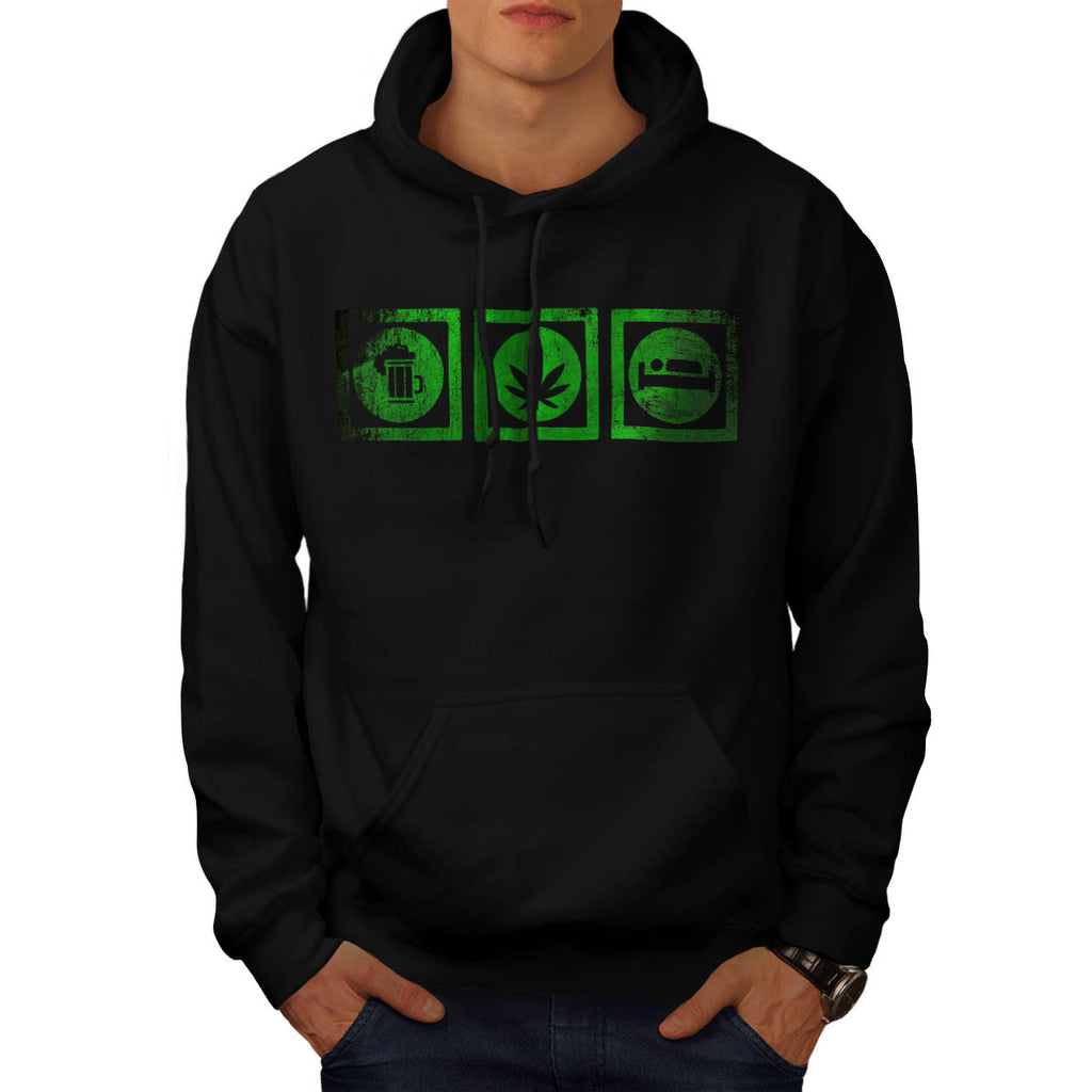 Beer Cannabis Sleep Mens Hoodie