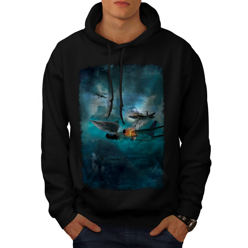 Shark Attack Airplane Mens Hoodie