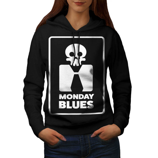 Monday Blues Skull Womens Hoodie