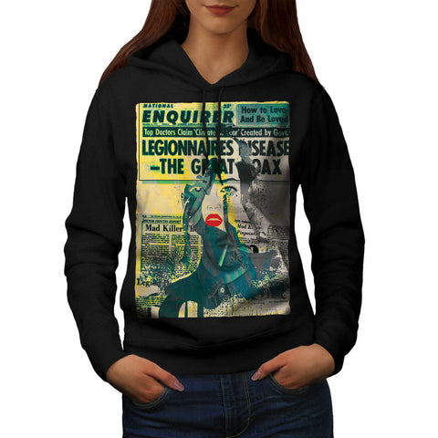 Newspaper Portrait Womens Hoodie