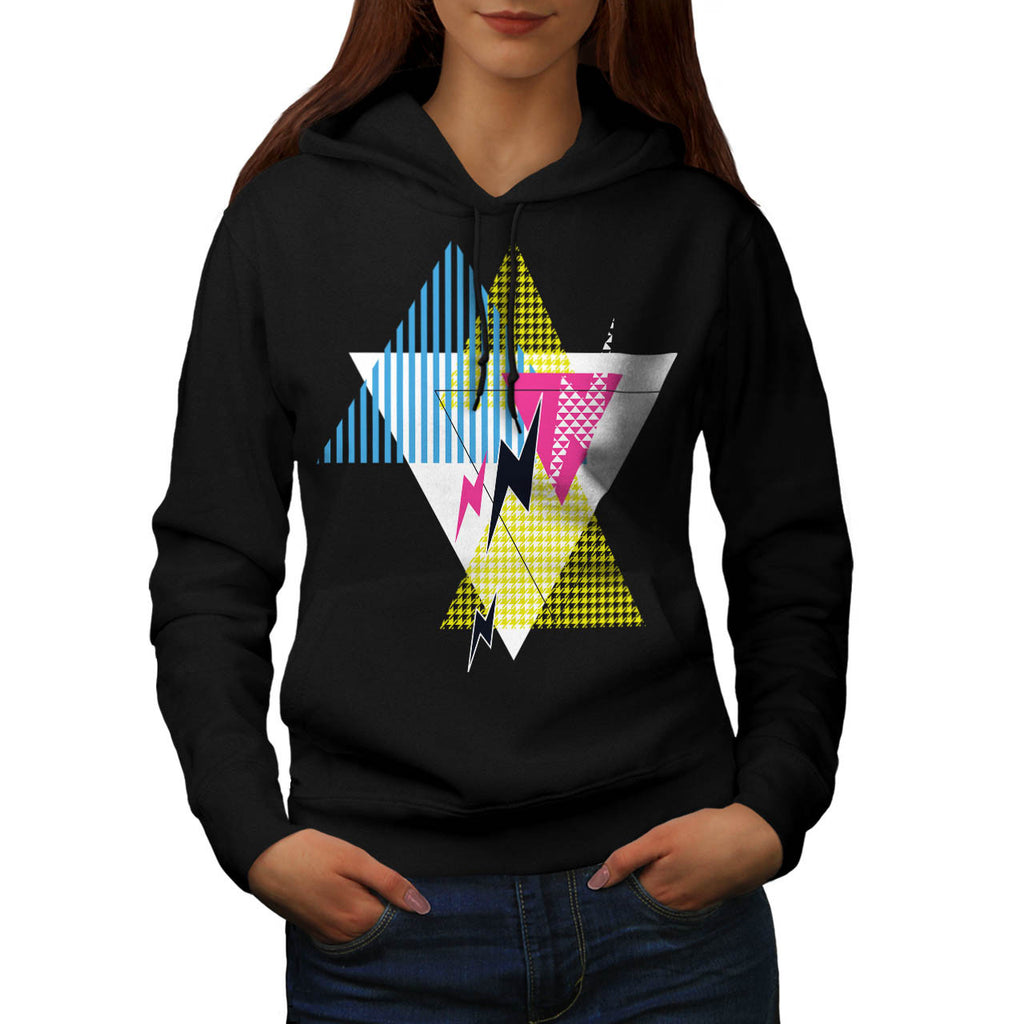 Lightning Bolt Triangle Womens Hoodie