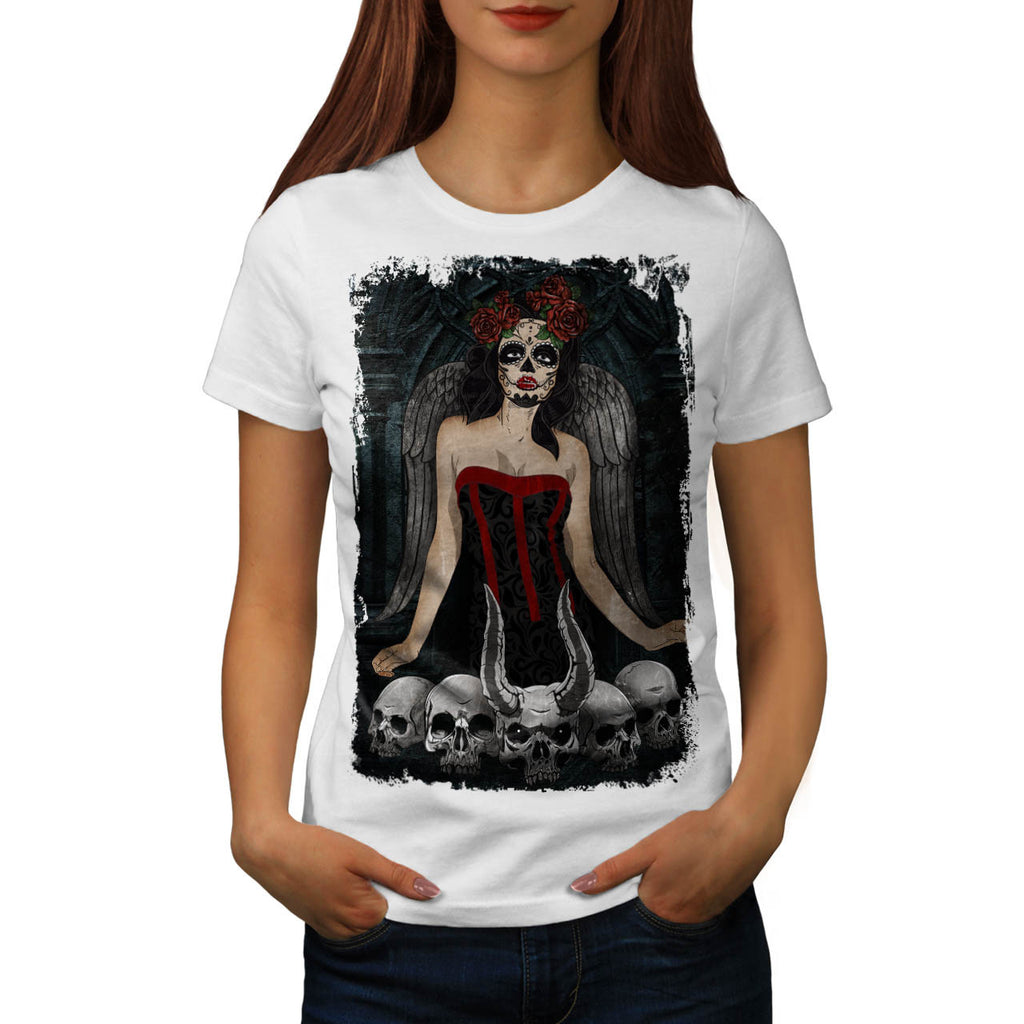 Scary Skull Sexy Girl Womens T-Shirt