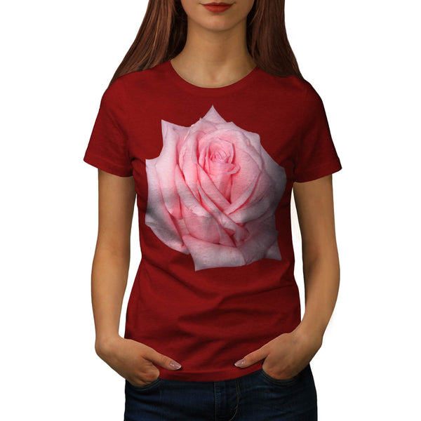 Pink Rose Romantic Womens T-Shirt