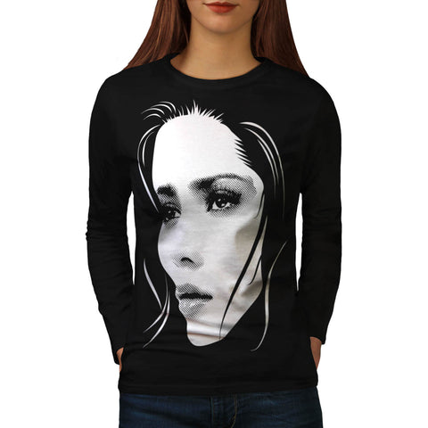 Human Face Beautiful Womens Long Sleeve T-Shirt