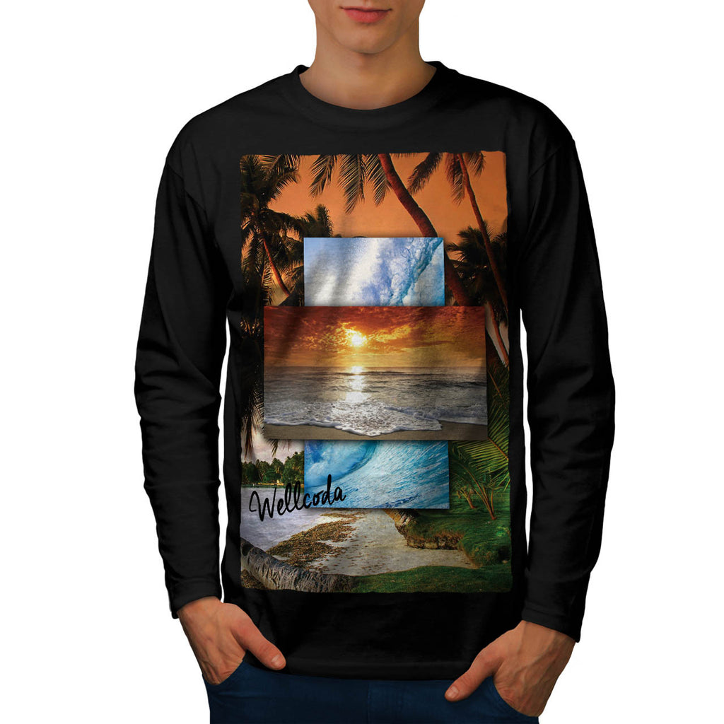 Vintage Sunny Beach Mens Long Sleeve T-Shirt