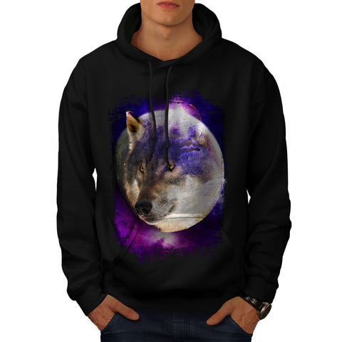 Wild Wolf Moon Earth Mens Hoodie