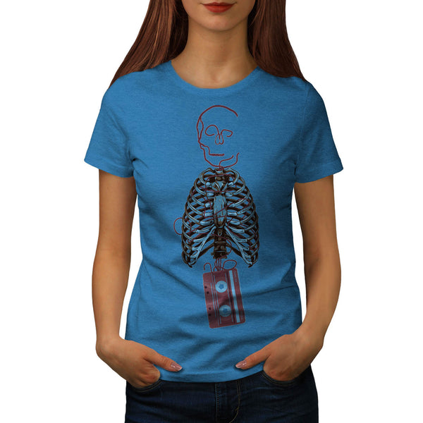 Skeleton Tape Music Womens T-Shirt