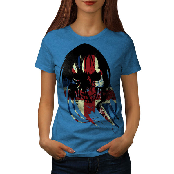 Union Jack UK Skull Womens T-Shirt