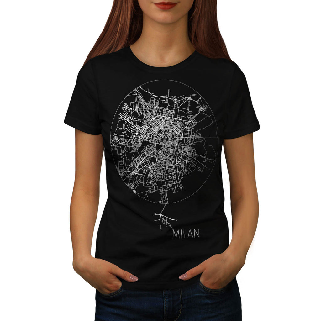 Italy Milan City Map Womens T-Shirt