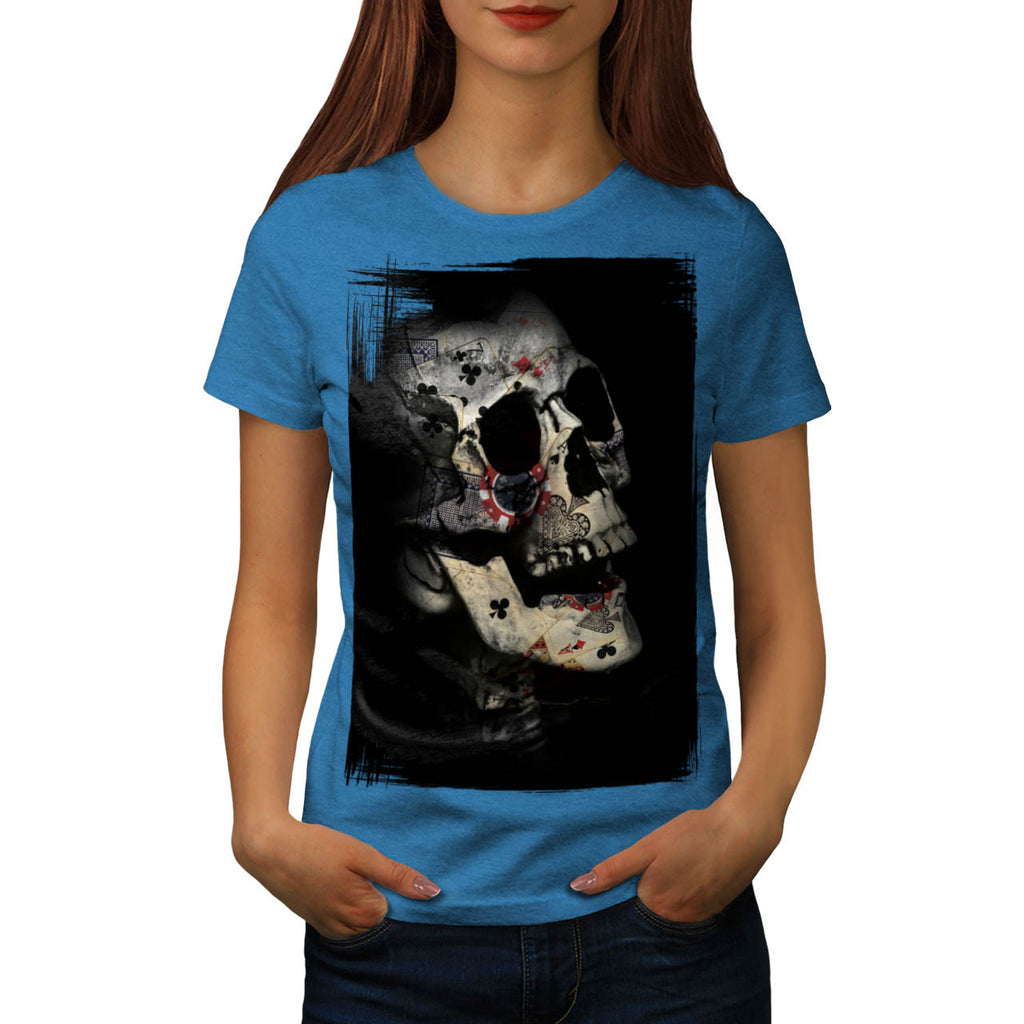 Skull Cards Head Art Womens T-Shirt
