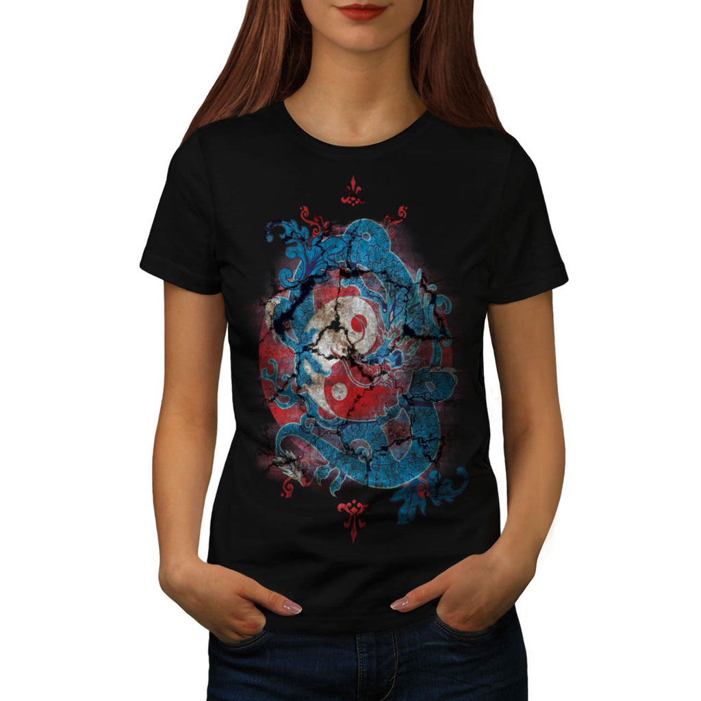Yin Yang Dragon Life Womens T-Shirt