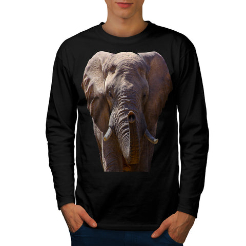 Wild Elephant Head Mens Long Sleeve T-Shirt