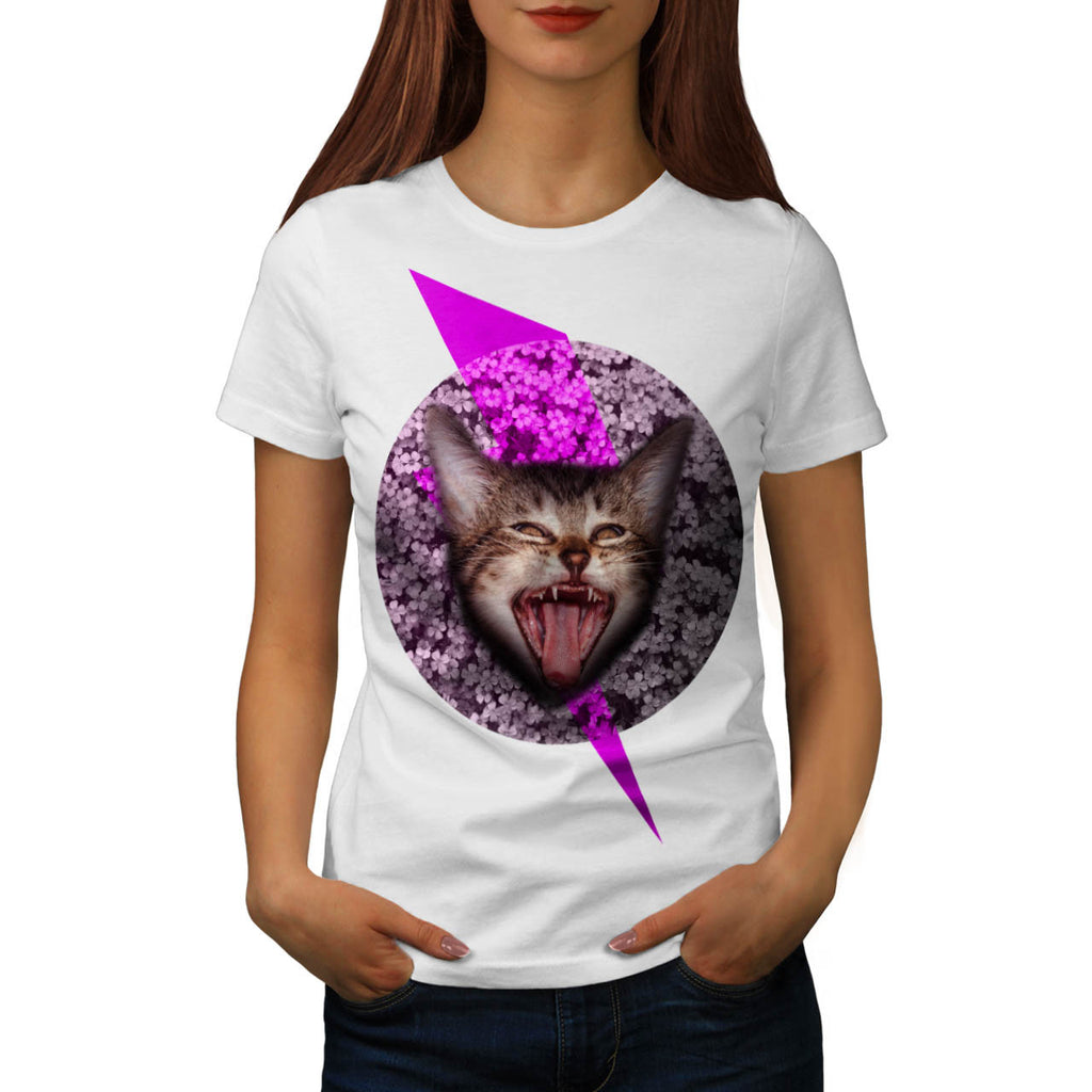Crazy Cat Kitten Face Womens T-Shirt