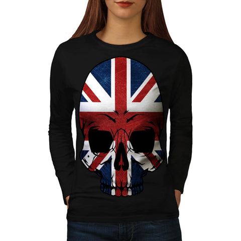 Anarchy UK Skull Flag Womens Long Sleeve T-Shirt