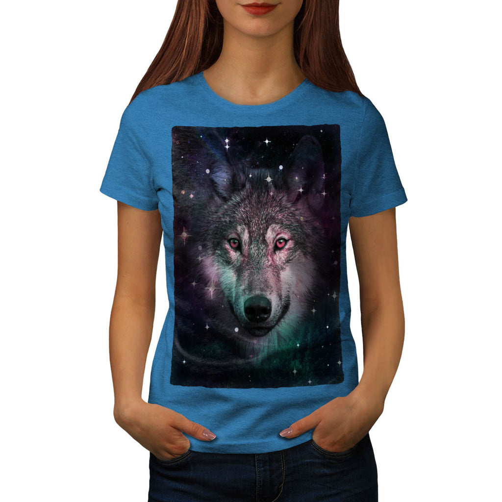 Space Wars Wolf Face Womens T-Shirt