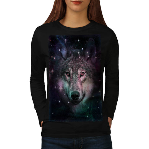 Space Wars Wolf Face Womens Long Sleeve T-Shirt