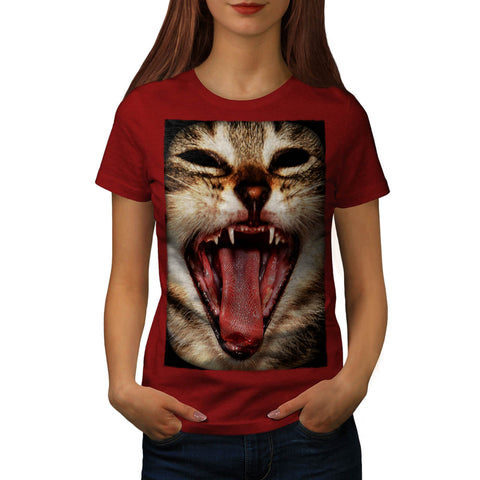 Wild Cat Crazy Mask Womens T-Shirt