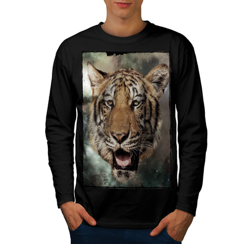 Big Cat Tiger Face Mens Long Sleeve T-Shirt
