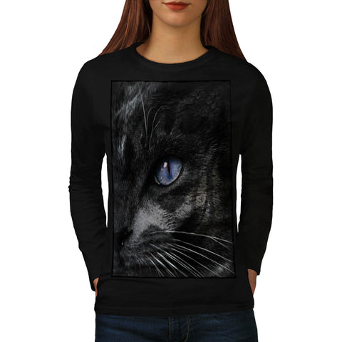 Cat Kitten Eye Stare Womens Long Sleeve T-Shirt