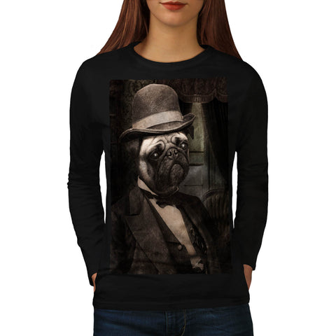 Pug Dog Dapper Gent Womens Long Sleeve T-Shirt