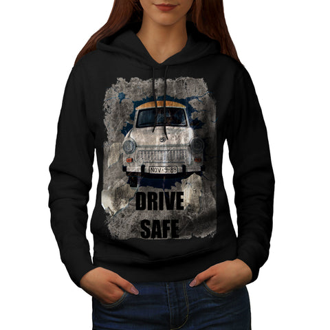 Drive Safe Retro Car Womens Hoodie