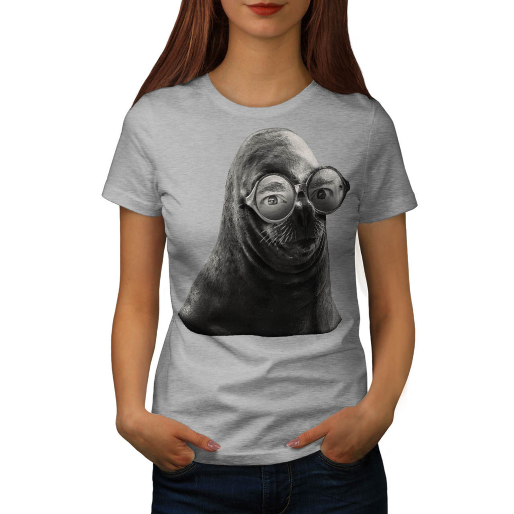 Crazy Seal Face Mask Womens T-Shirt