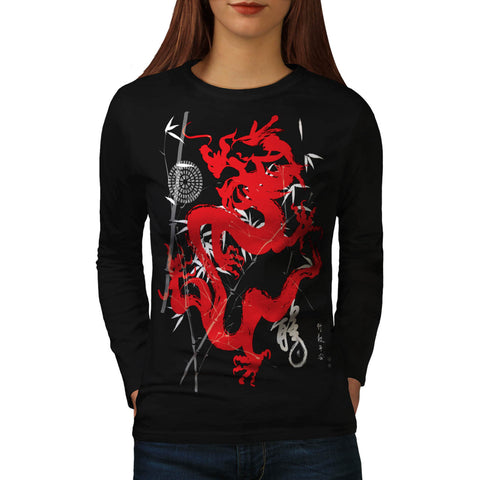 Dragon Japan Fantasy Womens Long Sleeve T-Shirt