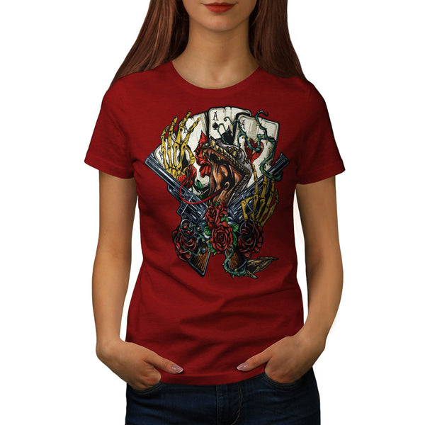 Snake Gun And Roses Womens T-Shirt