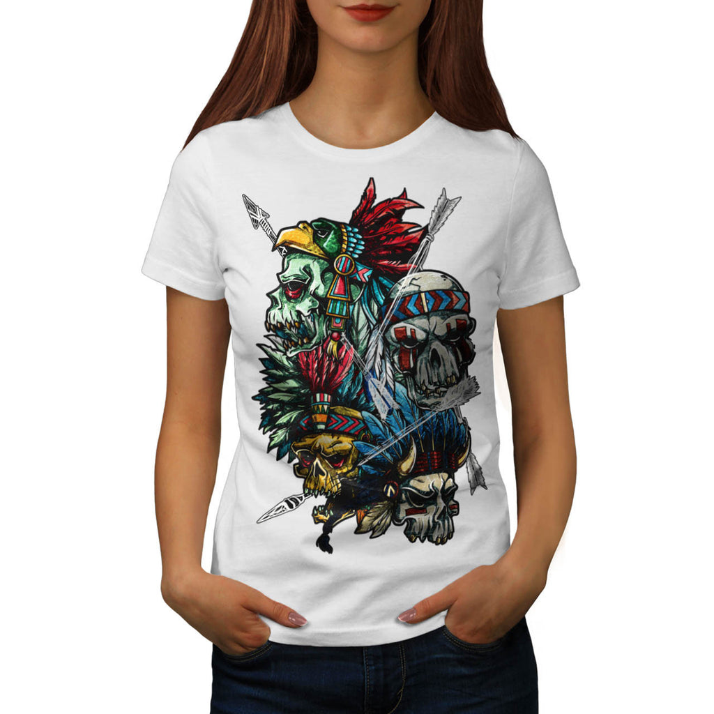 Skull Indian Tattoo Womens T-Shirt