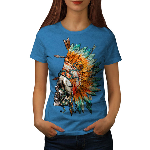 Skull Indian Rose Art Womens T-Shirt