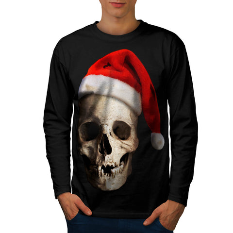 Santa Claus Skull Hat Mens Long Sleeve T-Shirt