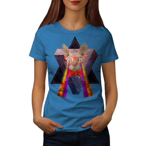 Crazy Cat Laser Beam Womens T-Shirt