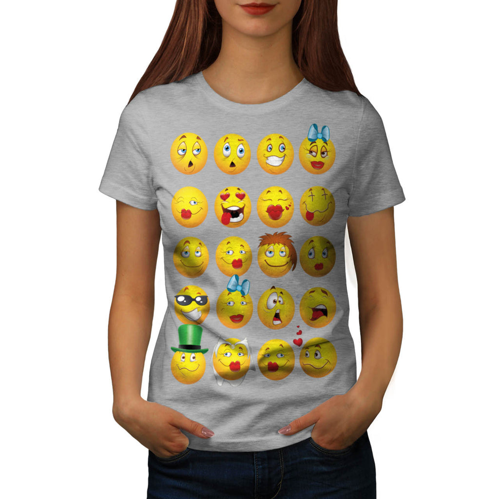 Funny Emoji Faces Womens T-Shirt