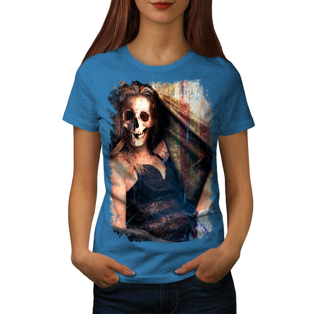Skull Angel Head Art Womens T-Shirt